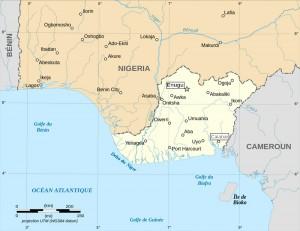 Carte des territoires revendiqués par la république du Biafra.