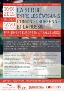 """Agenda : Colloque """"La Serbie, entre les États-Unis, l'Union européenne et la Russie"""" le 30 juin à Bruxelles"""