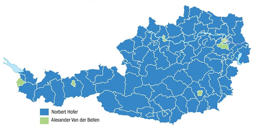 Voilà une carte devenue célèbre. Elle représente le premier tour des élections présidentielles autrichiennes, le 24 avril dernier